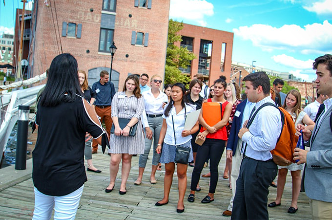 Students at a career site visit in downtown Baltimore