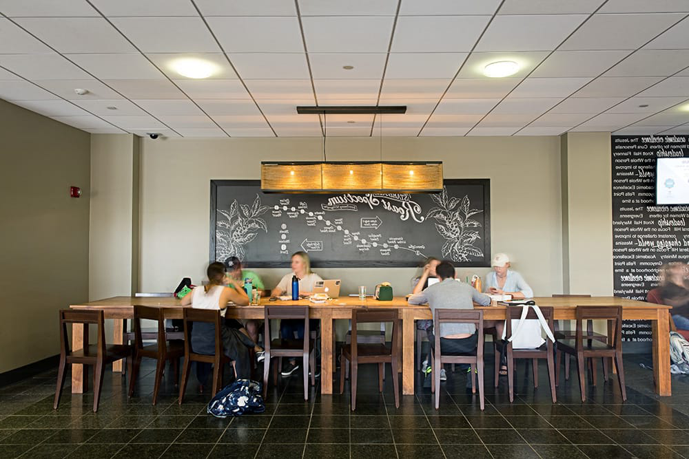 Students sitting around a long wood table with a wide, black coffee poster hanging on the wall behind them