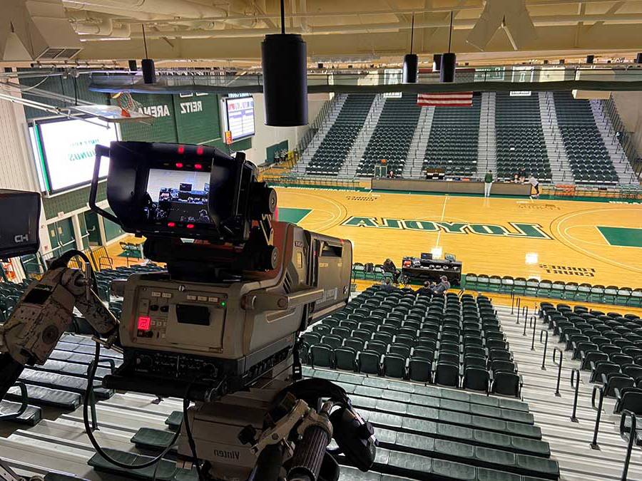 Television camera aimed at Reitz Arena basketball court