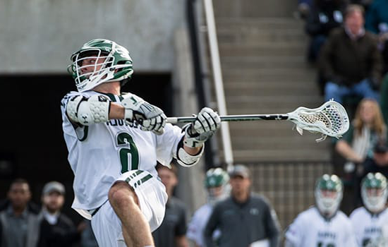 A Loyola Lacrosse player throws the ball during the game